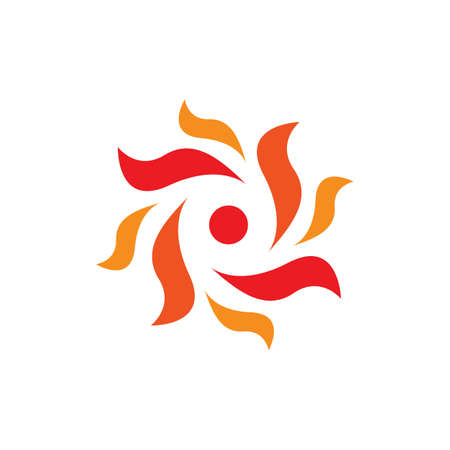 orange yellow Sun bright logo design vector icon illustration