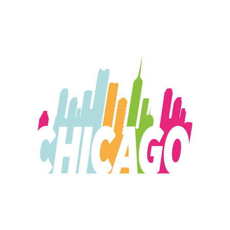 colorful chicago hand lettering logo design combined with cityskyline vector illustrations