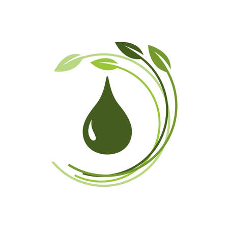 natural herb oil logo design with leaf and oil drop symbol vector illustration