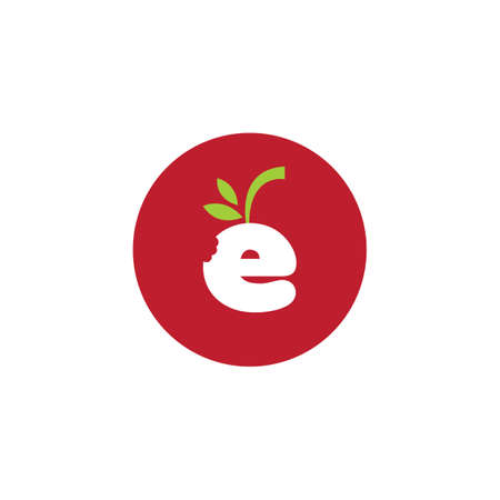 E fruit with leaf Logo Design. Great Logo Leters Icon Vector Design