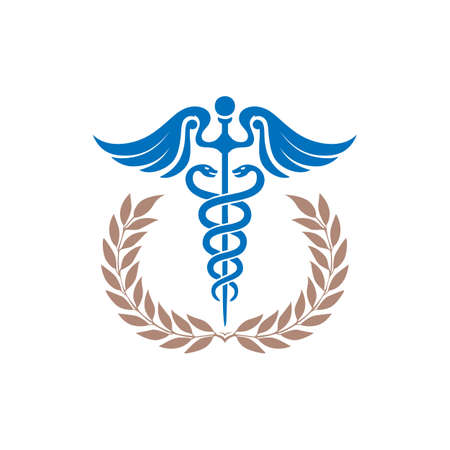 Medical Health Caduceus symbol Asclepius's snake and Wand logo with wealth rice icon