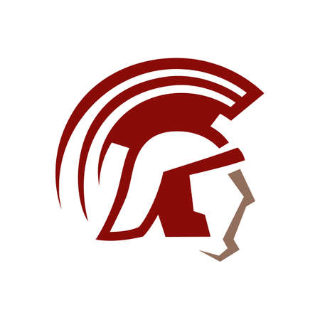 custom stylish spartan logo design symbol. warrior helmet icon vector illustration