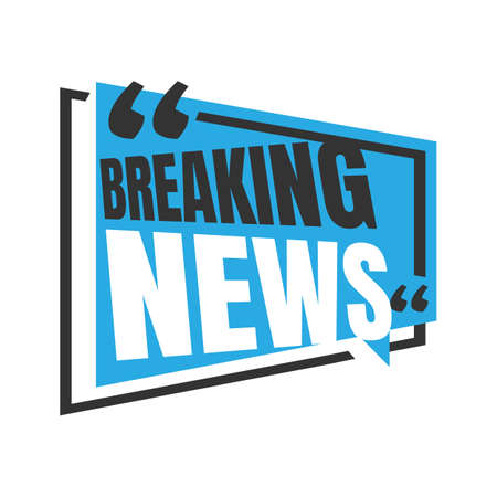Breaking news logo icon for News Entertaining show sign banner vector illustration on square rectangle shape style background