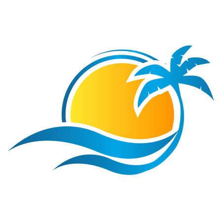 tropical summer emblem beach logo design vacation with sun and wave template Vector illustration Illustration