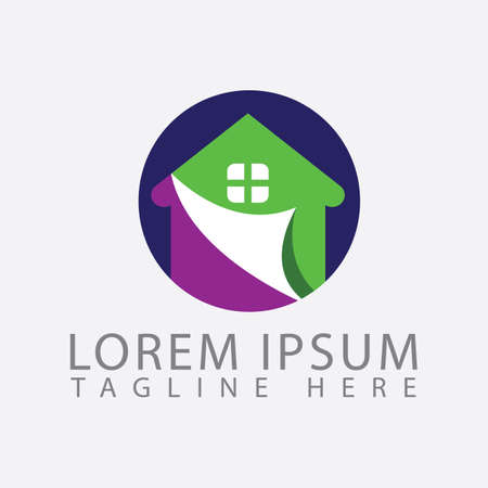 new house painting logo icon design vector colorful paint template isolated Illustration