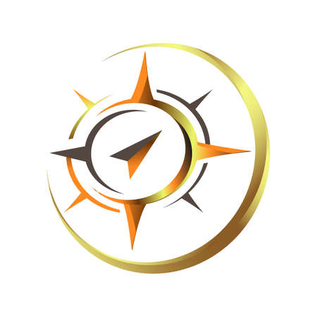 Custom Shape Creative Shinny Star Compass Logo vector Concept with 3D style Textured Design Template Illustration