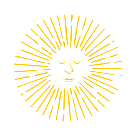 bright sun logo vector with smile relaxing face icon in meditation style theme illustrations Illustration