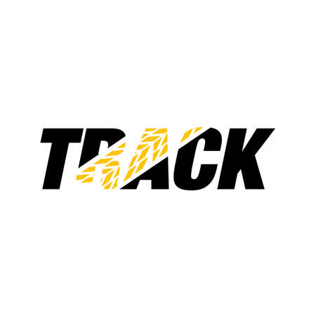 rock powerful sporty TRACK Lettering Typography logo design vector illustration