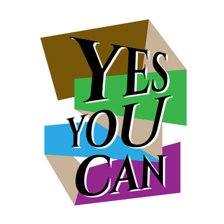 new custom creative inspiring positive quotes. YES YOU CAN. motivation quote vector typography banner design concept on square shape block background vector typography illustration stock