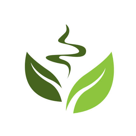 new great nature simple and modern green tea leaf logo design vector elements