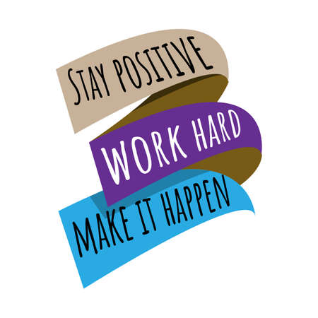 new custom creative inspiring positive quotes. stay positive work hard make it happen. motivation quote vector typography banner design concept on square shape block background vector typography illustration stock Illustration