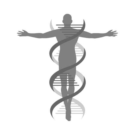 the combination icon of helix strand DNA human logo vector isolated on white background Illustration