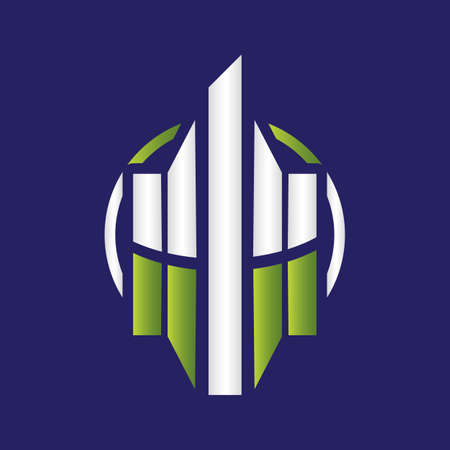 Abstract shield and building security icon symbol of security protection maintenance company