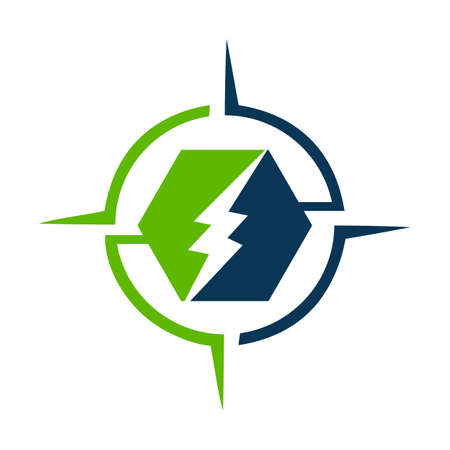 combination of safety guard shield and electric symbol shock design concept vector icon template