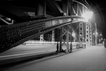 lighted: Lighted bridge in Frankfurt on the Main