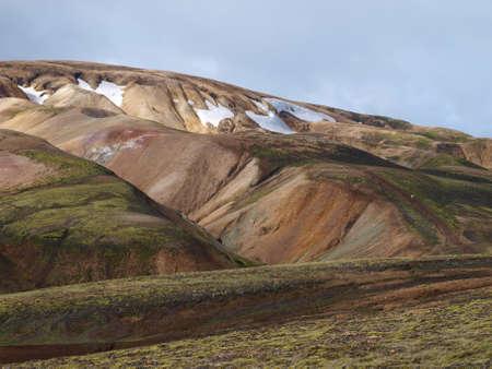 Laugavegur hike in Iceland, rhyolite coloured hills Banco de Imagens
