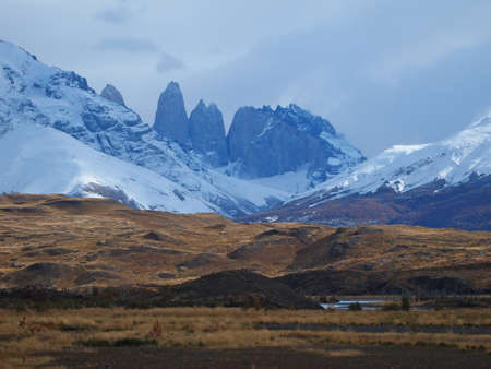 Torres del Paine massif in fall, view from the east.     photo