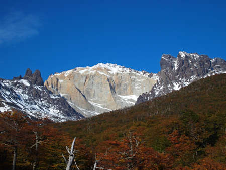 Torres del Paine in fall, north side, Chile.