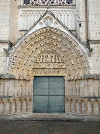 Cathedral Saint Peter,, door and tympanum, Poitiers,France.