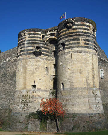 Two towers of the angevine castle, France.