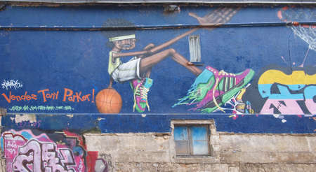 Graffiti portraying Tony Parker, Poitiers streets, France.