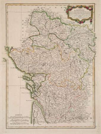 anjou: 1771 mapa de Anjou, Saumurois, Turena, Poitou, Aunis, Saintonge, Angoumois.