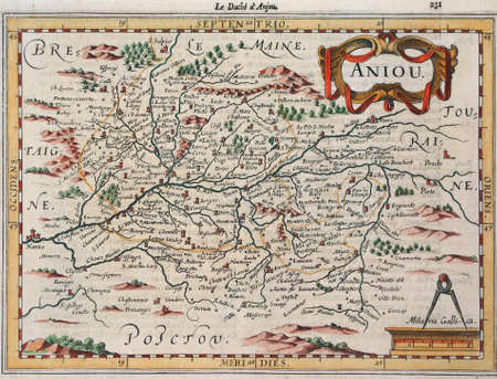 anjou: De cobre grabadas mapa del siglo XVII, Anjou, Francia. Foto de archivo