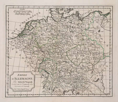 year 3 of the french revolution ( 1791) map of Germany. Stock Photo