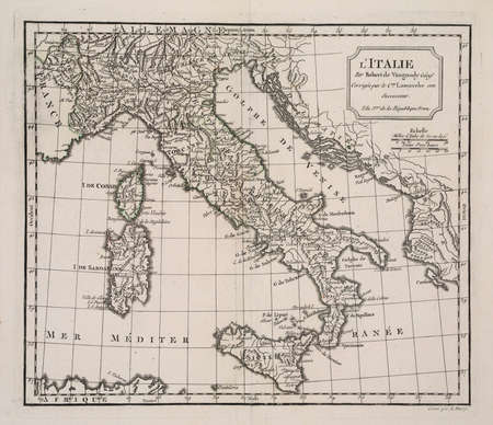 italy map: year 3 of the french revolution ( 1791) map of Italy. Stock Photo