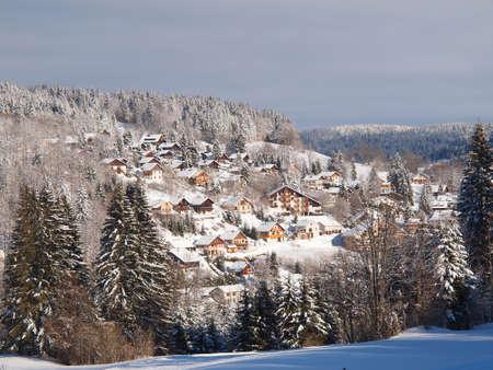 Jura mountain, a small village in winter.