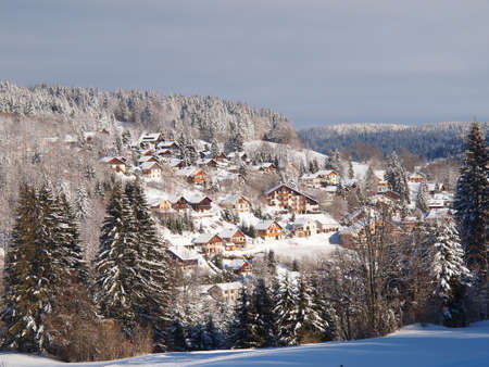 Jura mountain, a small village in winter.