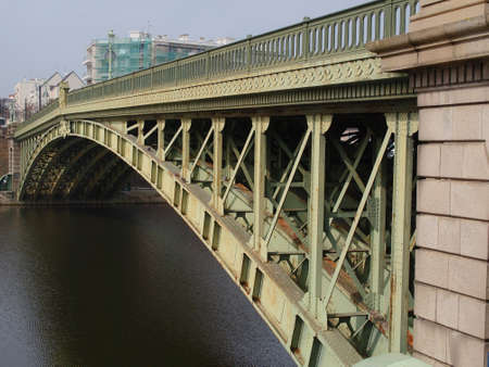 Forged steel arch bridge built in 1885  on the Erdre river, Nantes    photo