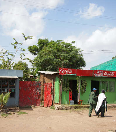 Shop in Addis Ababa suburb, june 2010,  with Coca Cola advertising, in alphasyllabary.