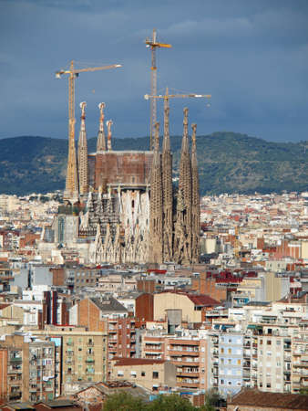 view of Sagrada Familia and surrounding buildings of Barcelona, april 2012