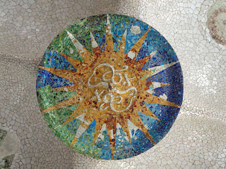 Gaudi Mosaic Tiles, ceiling,  - Barcelona, Spain, park Guell photo