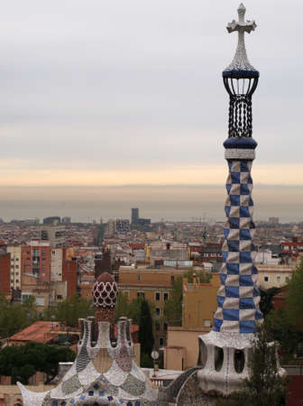 Barcelona seen from the Park G�ell  garden complex  photo