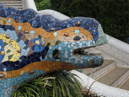 Close up of Lizard fountain in Park Guell - Barcelona Spain