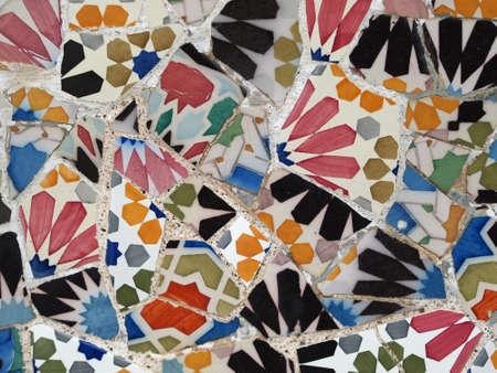 guell: Gaudi Mosaic Tiles - Barcelona, Spain, park Guell