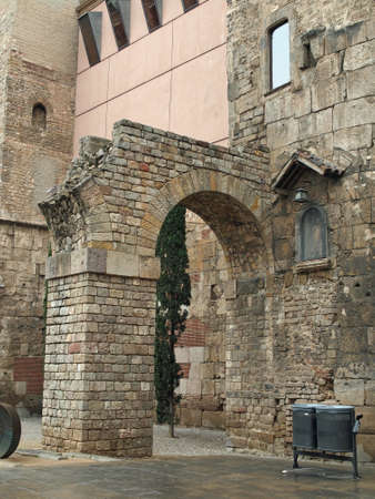 Remain of the roman wall gate aqueduct, Barcelona, Spain.