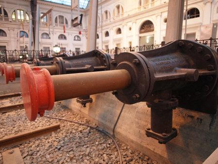 Barcelona Franca railway station, april 13,2012, hydraulics buffers stop Editorial