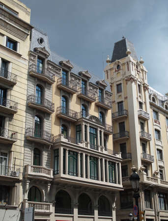 Building frontage, view from a public street, Barcelona center , Spain   photo