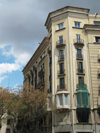 frontage: Building frontage, view from a public street, Barcelona center , Spain   Stock Photo