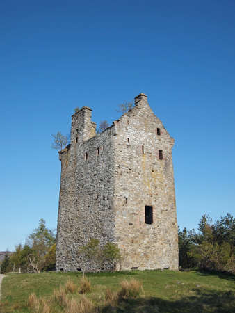 Invermark Castle was built around 1526, the 50 feet high remaining tower was largely restored in 1887. Stock Photo - 13819276