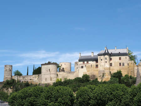 middleages: View of Chinon royal Fortress from the south.