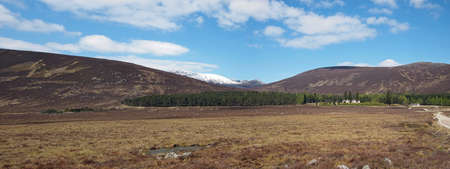 Panoramic view of Spittal of Glenmuick with Lochnagar in the background, Scotland in may  Stock Photo