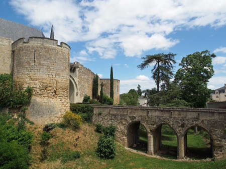 pays: Chateau montreuil bellay loire valley france, entrance bridge  Editorial