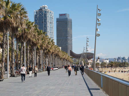 Barcelona sidewalk along the beach, spring 2012, Spain.