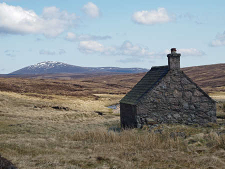 refuge: Scotland south east Cairngorms in may.       Editorial