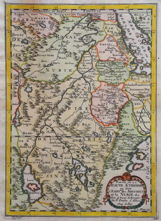 XVIIth century copper engraved color map of Ethiopia, by Sanson dAbbeville