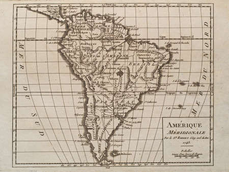 1748 vintage map of south America